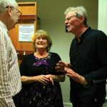 Penny Whittle of No Apologies with sponsor Martin Kennedy Bell and Guy Mackenzie in the foyer after the show.