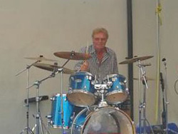 Guy Mackenzie on drums at the Stithian Cafe