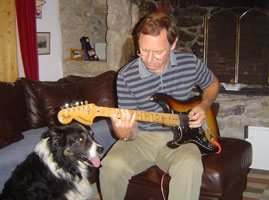 Alastair with Buzz and his '82 lefty Strat