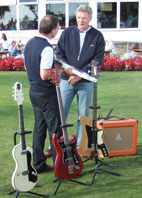 Alastair Dickenson, antique silver and guitar expert with my Gretsch TW-100T