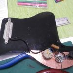 Guitar taken apart - behind the scratchplate