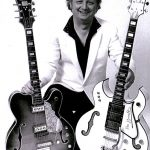 Guitarist Ron Barrett with his Grimshaw guitars
